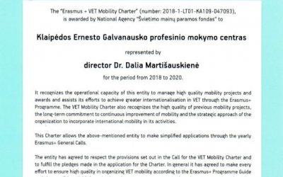 """""""Erasmus+"""" profesinio mokymo mobilumo chartija"""