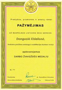 Apdovanojimas Danguolei Kisielienei