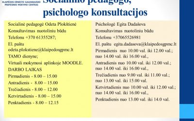 Socialinio pedagogo, psichologo konsultacijos